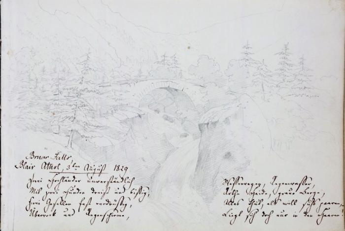 Sketch by Mendelssohn of Bruar Falls, 3 August 1829