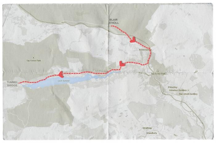 Map of Mendelssohn's Journey from Blair Atholl to Tummell Bridge