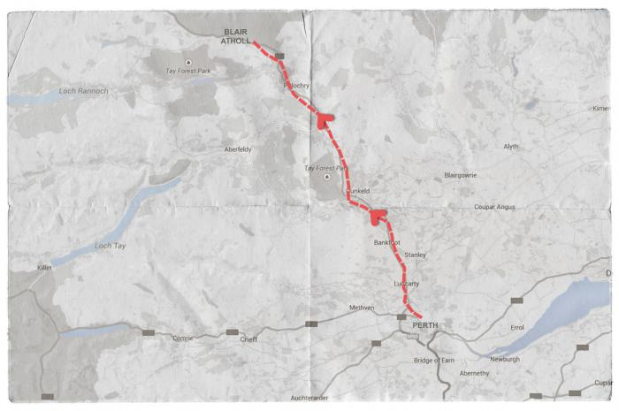 Map of Mendelssohn's Journey from Perth to Blair Atholl
