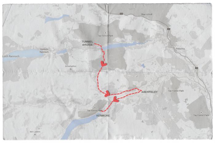 Map of Mendelssohn's Journey from Tummell Bridge to Kenmore via Aberfeldy