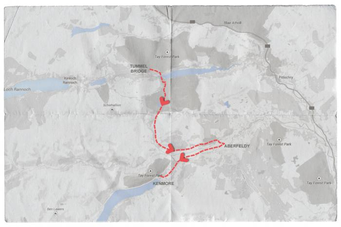 Map of Mendelssohn's Journey from Tummell Bridge to Kenmore via Aberfeldy