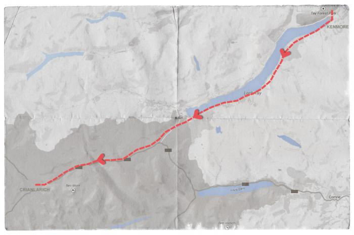 Map of Mendelssohn's Journey from Kenmore to Crianlarich, Scotland