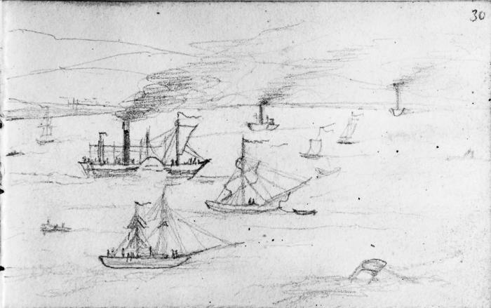 Steam ships on the Clyde 11 August.  Bodleian notebook.