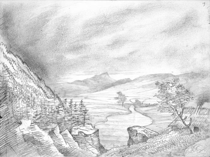 "Killiecrankie 3 August 1829 – sketch by Mendelssohn from the ""Bodliean sketchbook"" 19r"