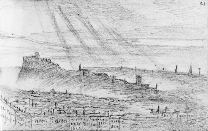"Edinburgh from Salisbury Crags, 26 July 1829 – sketch by Mendelssohn from the ""Bodliean notebook"" 21r"