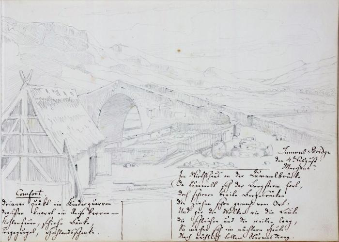 "Tummel Bridge, 4 August 1829 – sketch by Mendelssohn from the ""Beinecke sketchbook"""