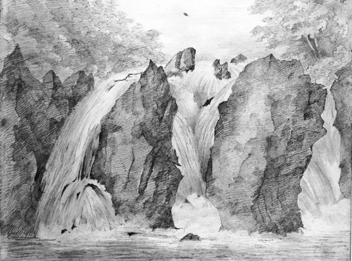 Mendelssohn sketch of the Falls of Braan, Dunkeld, Perthshire